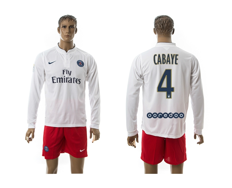 2014-15 Paris Saint Germain 4 Cabaye Away Long Sleeve Jerseys