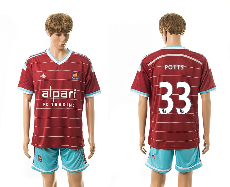 2014-15 West Ham United 33 Potts Home Jerseys