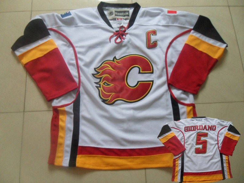 Flames 5 Giordano White C Patch Jersey