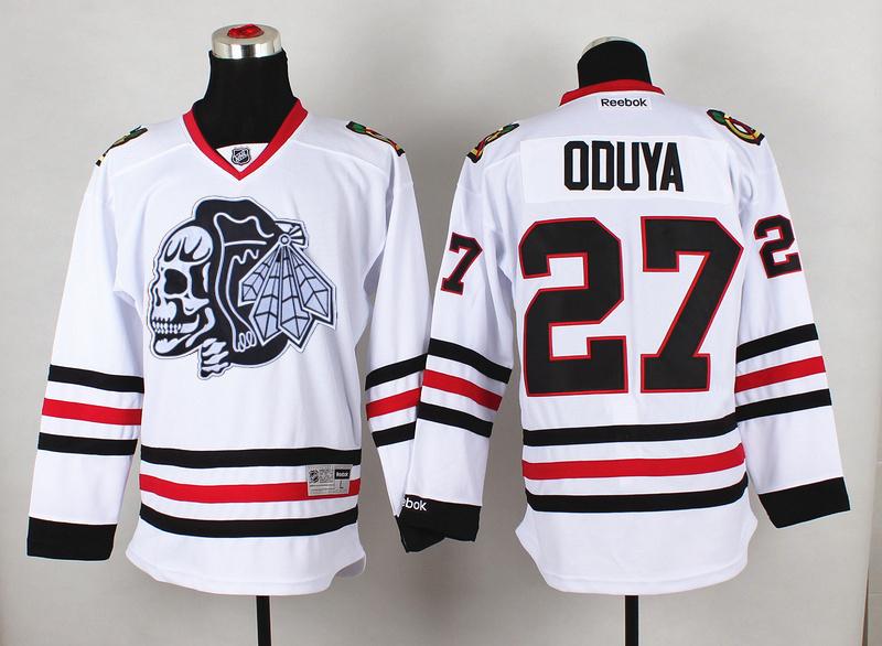 Blackhawks 27 Oduya White Reebok Jersey(With White Skull)