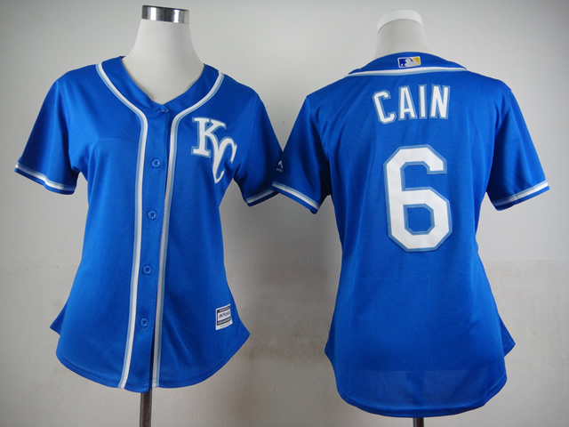 Royals 6 Cain Blue Women New Cool Base Jersey