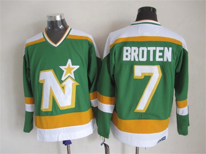 Stars 7 Broten Green CCM Jersey