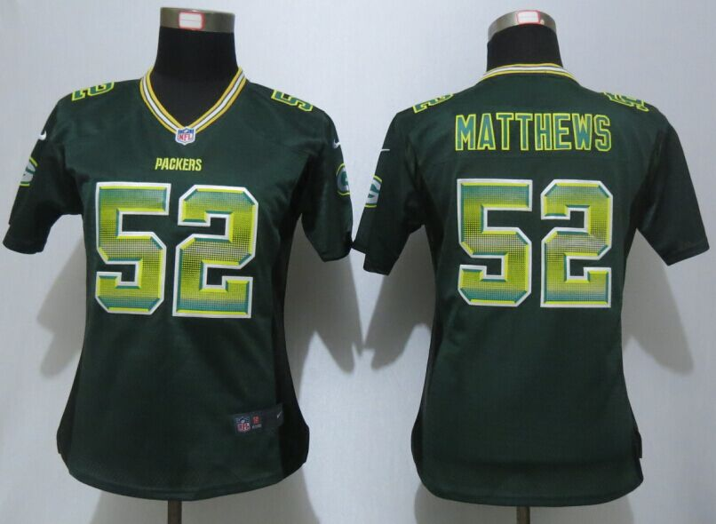 Nike Packers 52 Clay Mattews Green Pro Line Fashion Strobe Women Jersey