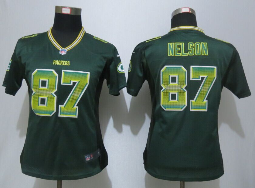 Nike Packers 87 Jordy Nelson Green Pro Line Fashion Strobe Women Jersey