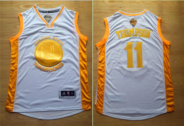 Warriors 11 Clay Thompson White 2015 NBA Champions Jersey