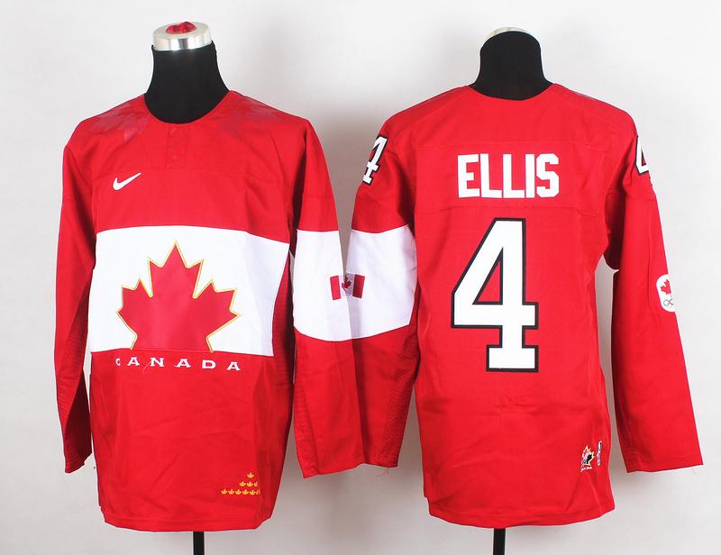 Canada 4 Ellis Red 2014 Olympics Jerseys