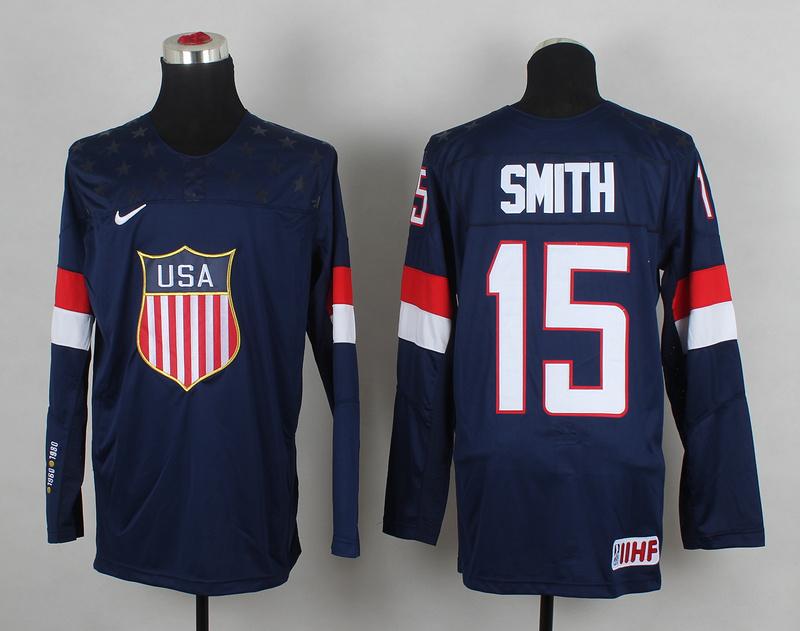 USA 15 Smith Blue 2014 Olympics Jerseys