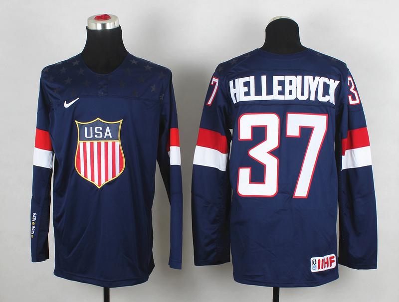 USA 37 Hellebuyck Blue 2014 Olympics Jerseys