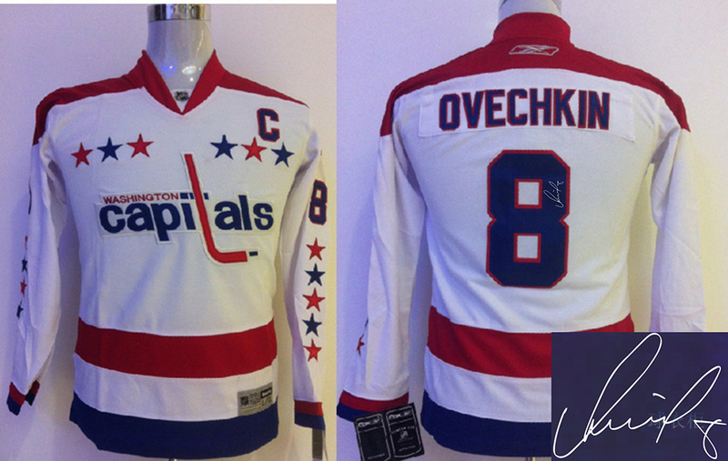Capitals 8 Ovechkin White Winter Classic Signature Edition Youth Jerseys