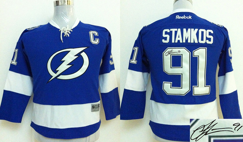 Lightning 91 Stamkos Blue Signature Edition Youth Jerseys