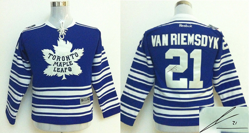 Maple Leafs 21 Van Riemsdyk Blue Signature Edition Youth Jerseys