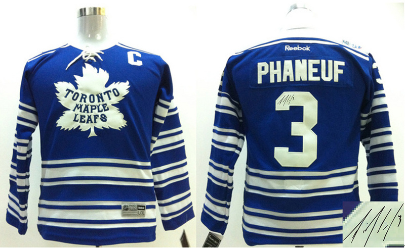 Maple Leafs 3 Phaneuf Blue Classic Signature Edition Youth Jerseys
