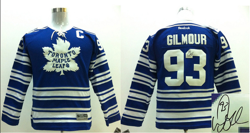Maple Leafs 93 Gilmour Blue Signature Edition Youth Jerseys