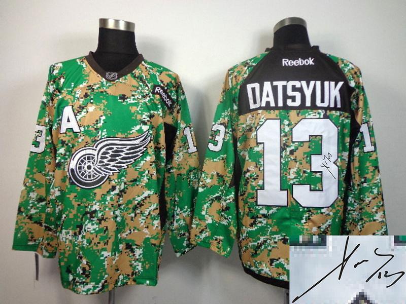 Red Wings 13 Datsyuk Camo Signature Edition Jerseys