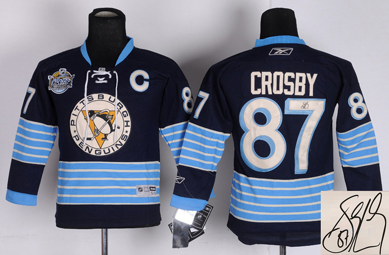 Penguins 87 Crosby Blue 2011 Winter Classic Youth Signature Edition Jerseys