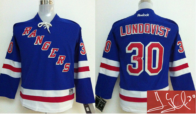 Rangers 30 Lundqvist Blue Signature Edition Youth Jerseys