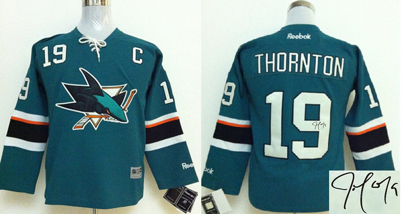 Sharks 19 Thornton Teal Signature Edition Youth Jerseys