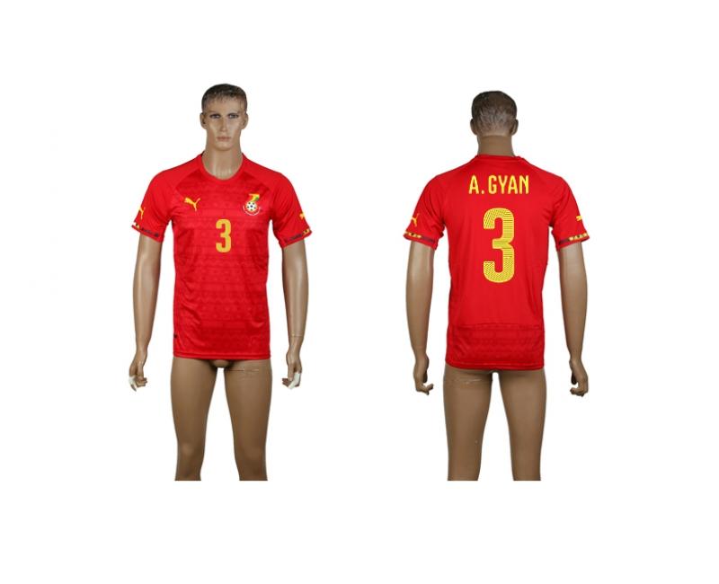 Ghana 3 A.Gyan 2014 World Cup Away Thailand Jerseys