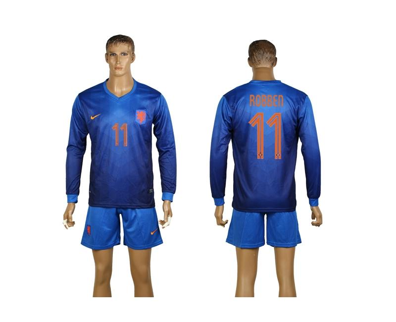 Netherlands 11 Robben 2014 World Cup Away Long Sleeve Jerseys