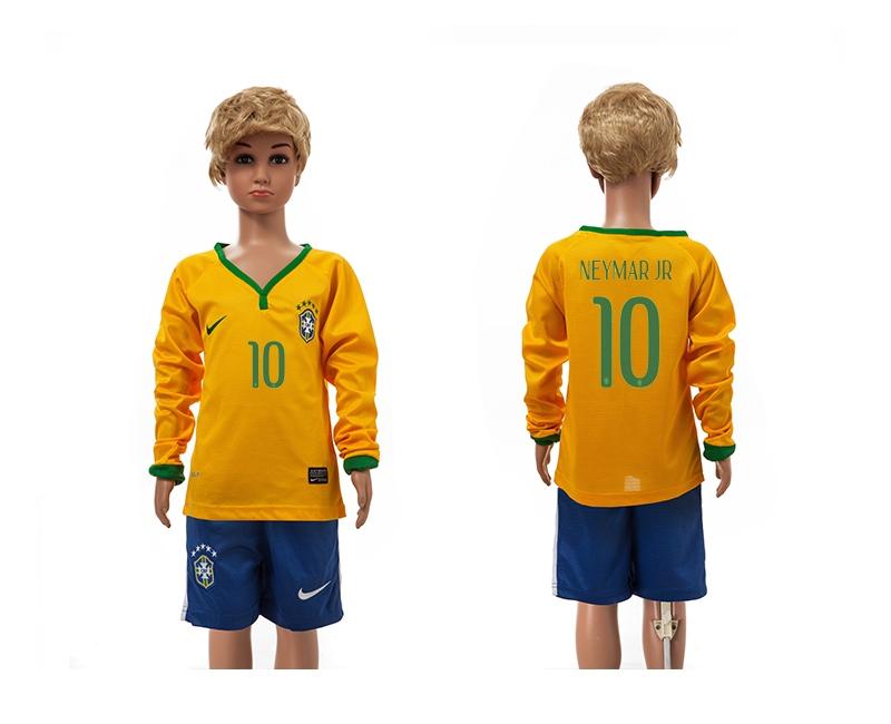 Brazil 10 Neymar Jr 2014 World Cup Home Long Sleeve Youth Jerseys