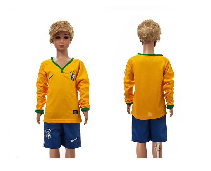 Brazil 2014 World Cup Home Long Sleeve Youth Jerseys