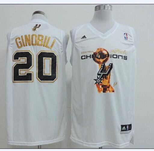 Spurs 20 Ginobili White 2014 Champions Jerseys