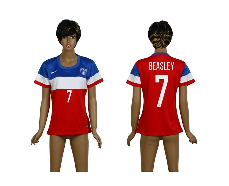 USA 7 Beasley 2014 Wolrd Cup Away Soccer Women Jerseys