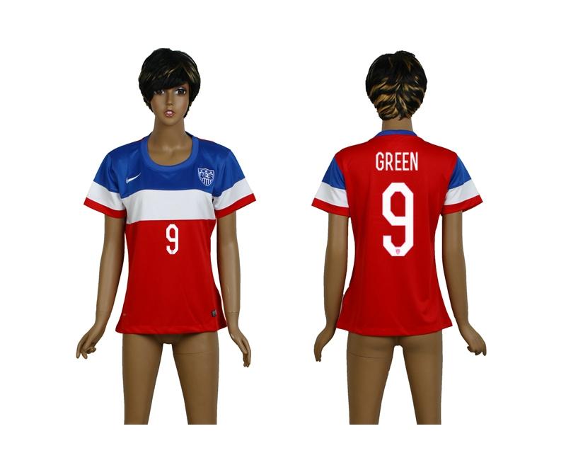 USA 9 Green 2014 Wolrd Cup Away Soccer Women Jerseys