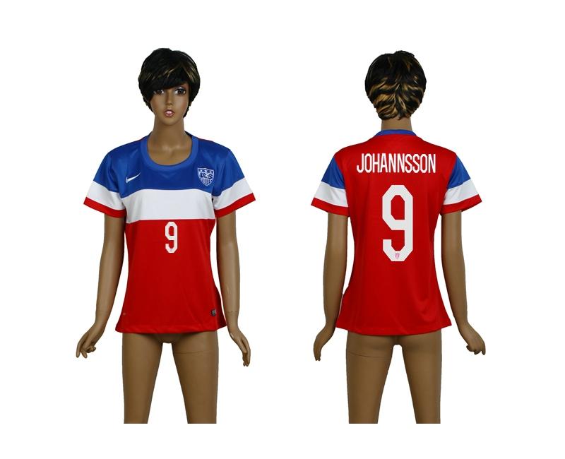 USA 9 Johannsson 2014 Wolrd Cup Away Soccer Women Jerseys