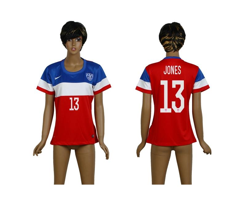 USA 13 Jones 2014 Wolrd Cup Away Soccer Women Jerseys