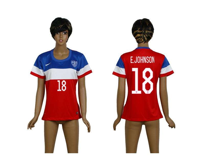 USA 18 E.Johnson 2014 Wolrd Cup Away Soccer Women Jerseys