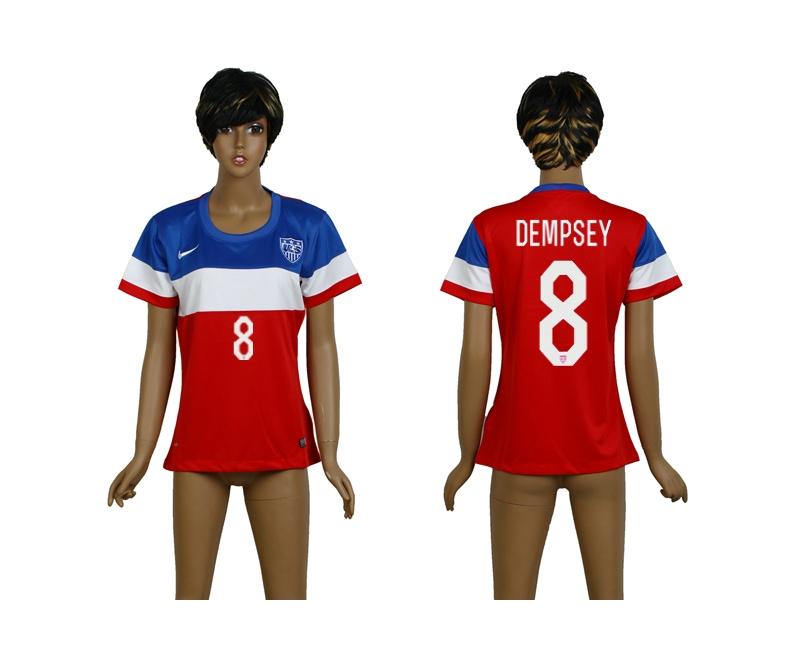 USA 8 Dempsey 2014 Wolrd Cup Away Soccer Women Jerseys