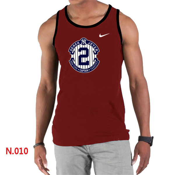 Nike Derek Jeter New York Yankees Final Season Commemorative Logo men Tank Top Red