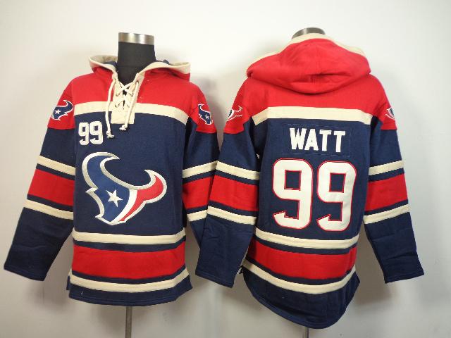 Nike Texans 99 J.J. Watt Blue All Stitched Hooded Sweatshirt