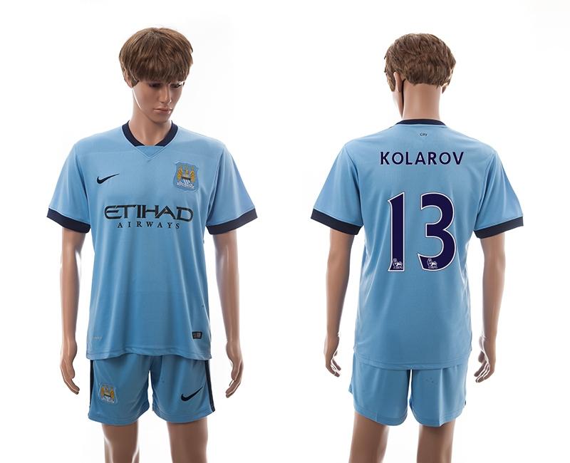 2014-15 Manchester City 13 Kolarov Home Soccer Jersey