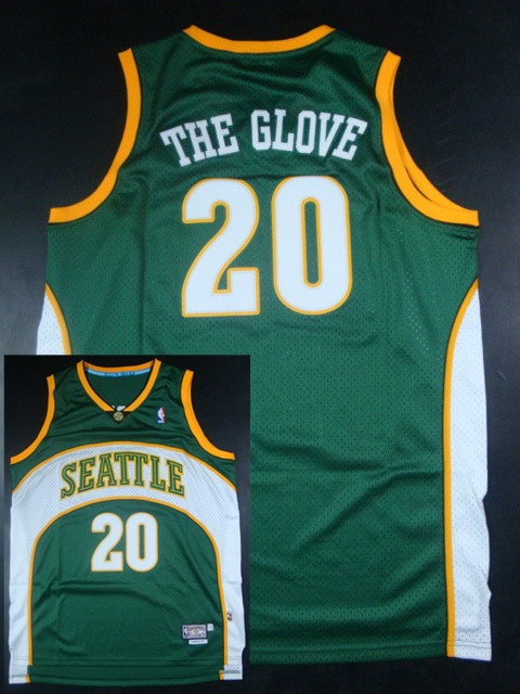 Sonics 20 The Glove Green Hardwood Classics Jerseys