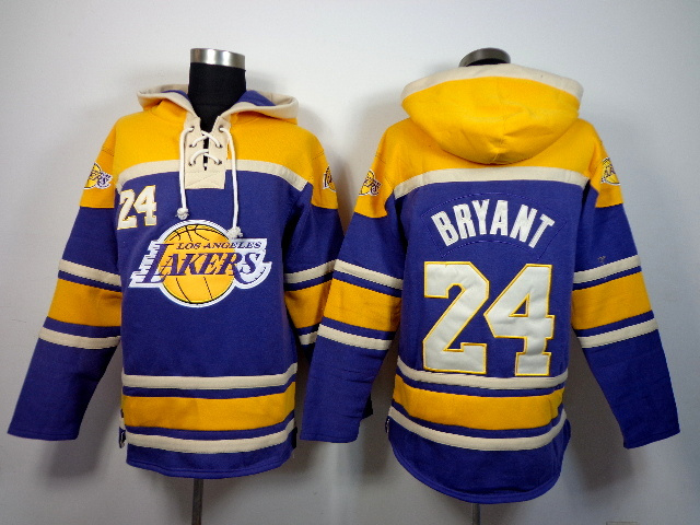 Lakers 24 Kobe Bryant Purple All Stitched Hooded Sweatshirt