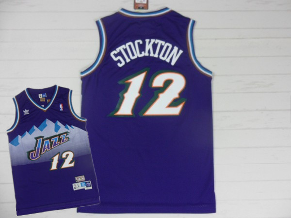 Jazz 12 Stockton Purple Hardwood Classics Jerseys
