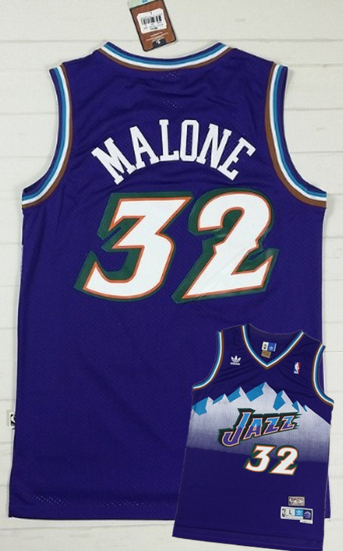 Jazz 32 Malone Purple Hardwood Classics Jerseys