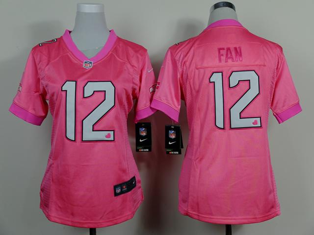 Nike Seahawks 12 Fan Pink Love Women Game Jerseys
