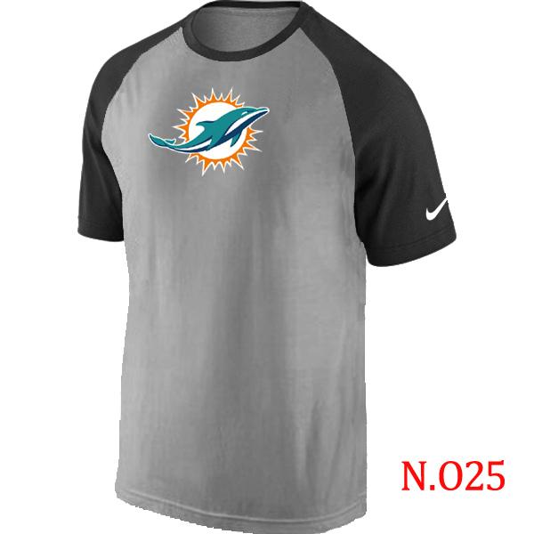 Nike Miami Dolphins Ash Tri Big Play Raglan T Shirt Grey&Black