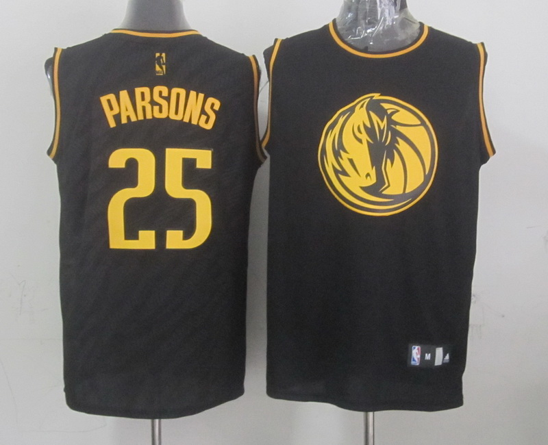 Mavericks 25 Parsons Black Precious Metals Fashion Jerseys