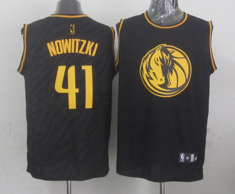 Mavericks 41 Nowitzki Black Precious Metals Fashion Jerseys