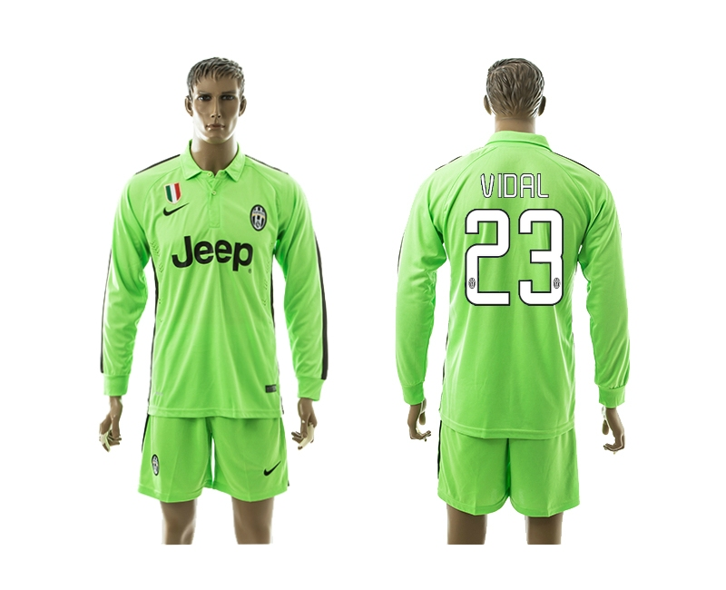 2014-15 Juventus 23 Vidal Third Away Long Sleeve Jerseys