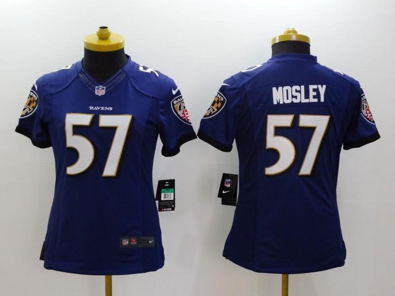 Nike Ravens 57 Mosley Purple Women Limited Jerseys
