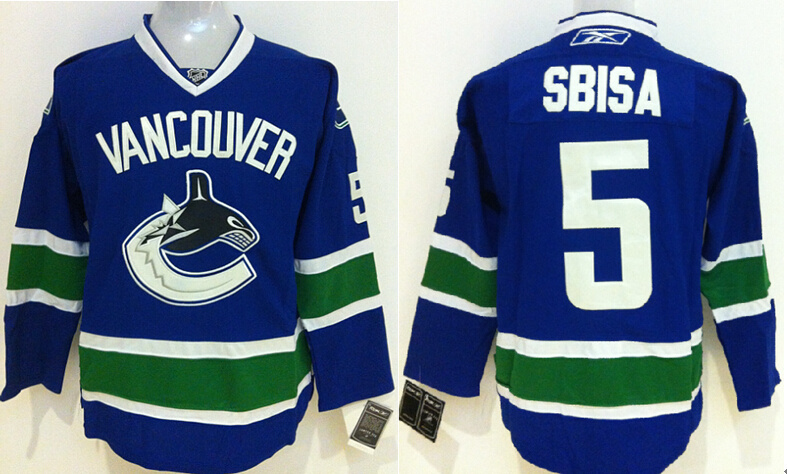 Canucks 5 Sbisa Blue Jerseys