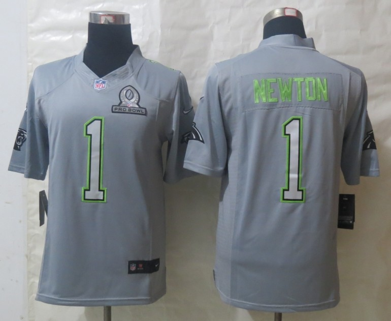 Nike Panthers 1 Newton Grey 2014 Pro Bowl Jerseys