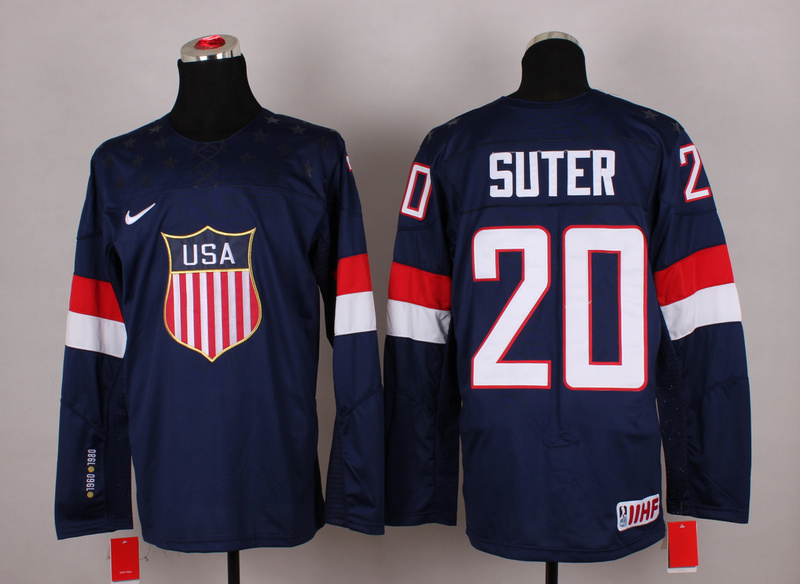 USA 20 Suter Blue 2014 Olympics Jerseys