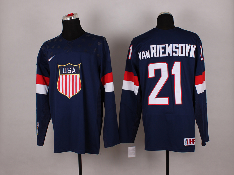 USA 21 Van Riemsdyk Blue 2014 Olympics Jerseys