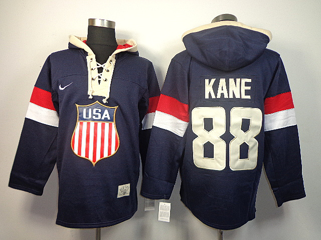 USA 88 Kane Blue 2014 Olympics Hooded Jerseys